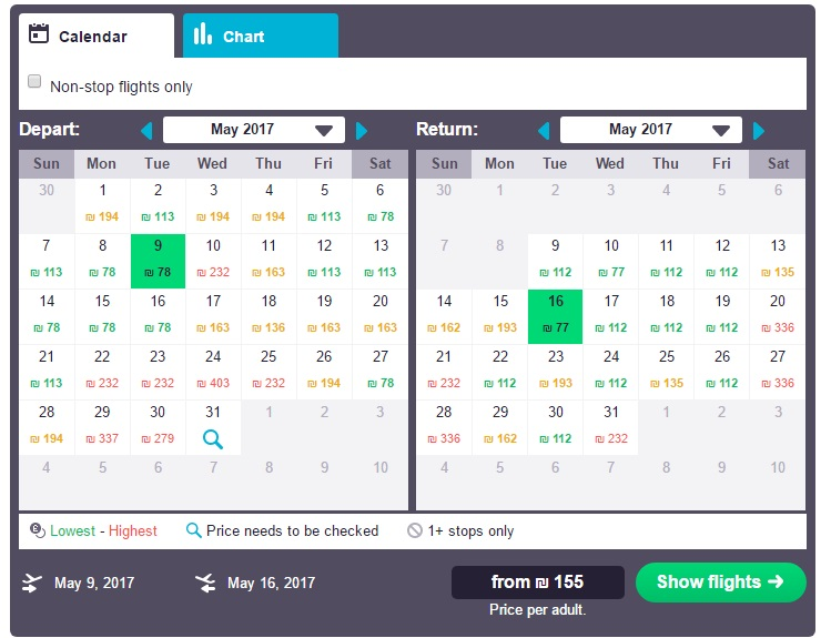 Calendar view of flight prices from Tel Aviv to Paphos